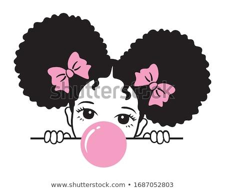 ストックフォト: アフロ · 少女 · 美人 · 巨大な · 黄色