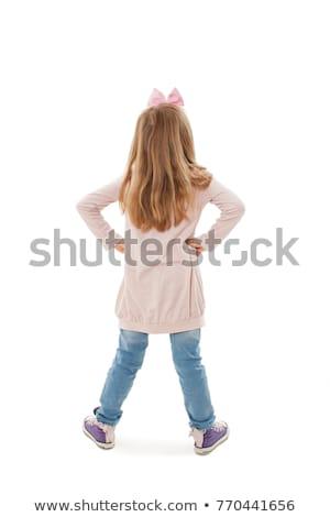 vrolijk · meisje · kind · handen · taille · zoete - stockfoto © stockyimages