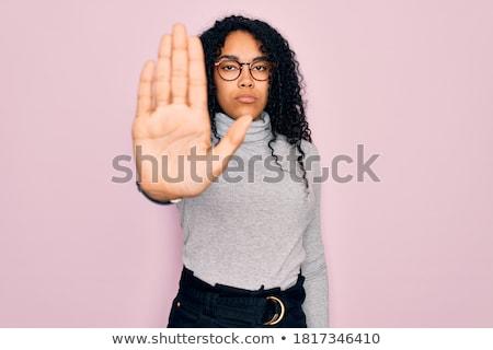 mulher · pare · gesto · cantar · mão · negócio - foto stock © dacasdo