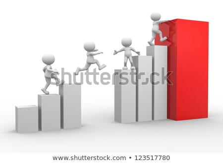 3d mensen klimmen grafiek teamwerk werk oranje Stockfoto © Quka