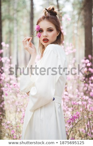 Brunette woman dressed in traditional geisha style stock photo © wavebreak_media