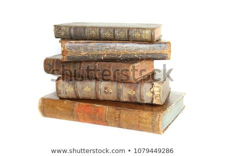 öreg · tankönyvek · egymásra · pakolva · háttér · kék · főiskola - stock fotó © stocksnapper