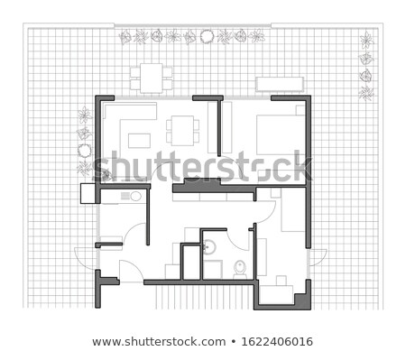 big house in grey with architect plans stock photo © wavebreak_media