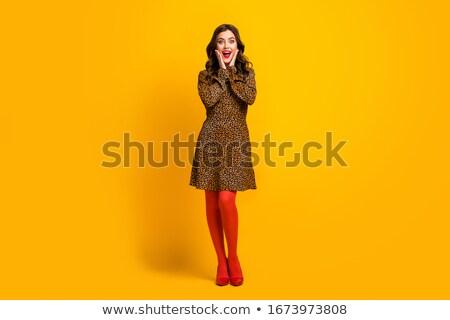 Happy girl in high heel shoes isolated Stock photo © alexandkz