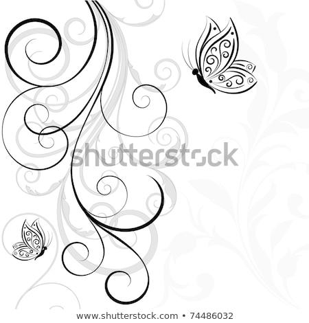 Szívek virágmintás tekercs szett virág lomb Stock fotó © kittasgraphics