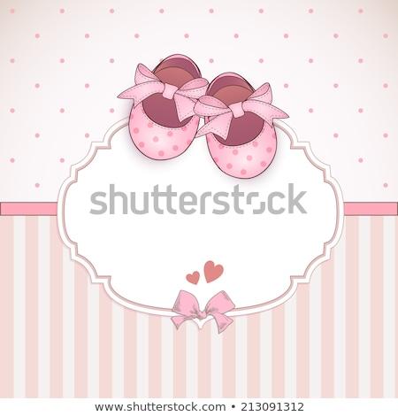 baby · roze · aankomst · kaart · ontwerp · teddybeer - stockfoto © balasoiu