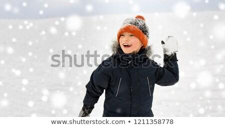Menino bola de neve pequeno árvore floresta Foto stock © emese73