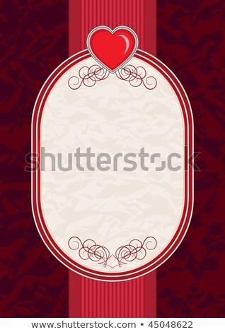 Wedding invitation blank with ruby heart, vector illustration Stock photo © carodi