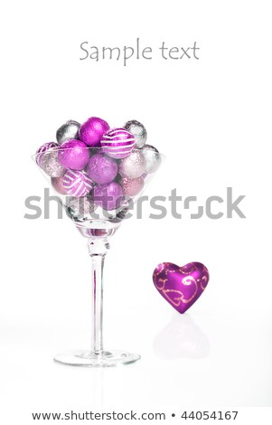 Heart Shaped Christmas Ornament In A Martini Glass Stok fotoğraf © Tish1