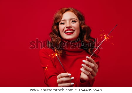Atraente adulto mulher lábios vermelhos retrato Foto stock © juniart