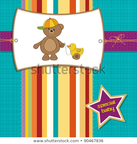 Stock photo: new baby boy announcement card with baby and his toy