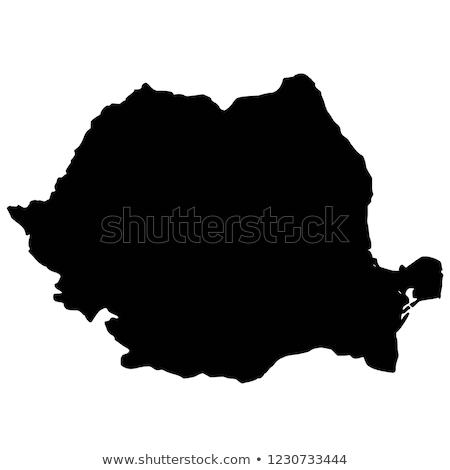 Fekete Romania térkép adminisztratív város sziluett Stock fotó © Volina