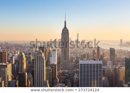 New · York · City · Manhattan · Empire · State · Building · Skyline · panorama · coucher · du · soleil - photo stock © erickn