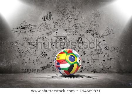ストックフォト: サッカー · サッカー · ボール · ギリシャ · フラグ · 3D