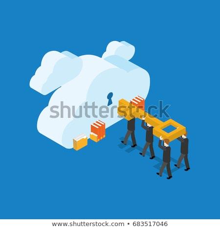 Cloud Technology on Light Blue in Flat Design. Stock photo © tashatuvango