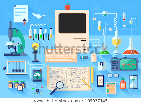 set of flat vector design illustration of modern school workspace stock photo © brainpencil