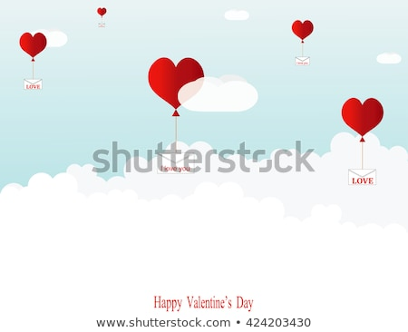 Red heart baloon flying among clouds retro Stock photo © LoopAll