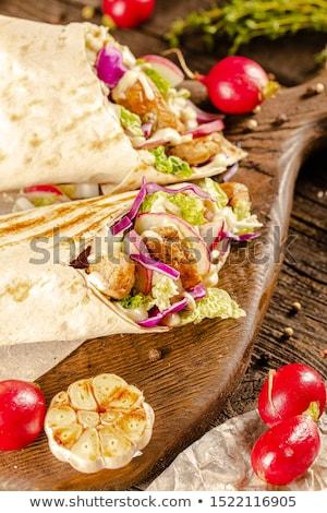 Conselho frango salada sanduíche pimenta almoço Foto stock © M-studio