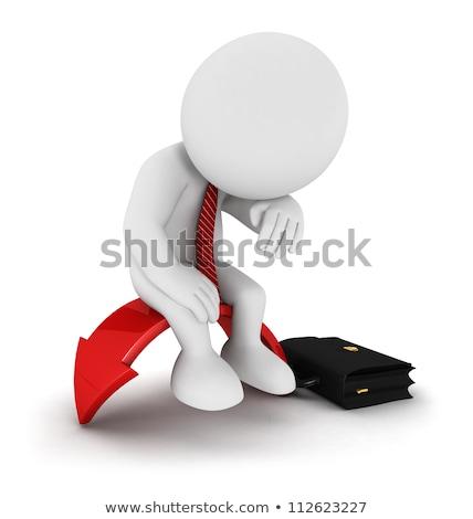 3D los blancos empresario triste rojo flecha Foto stock © texelart
