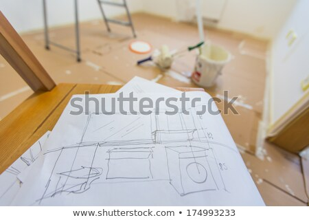 paint buckets with colors and plan blueprint stock photo © designers