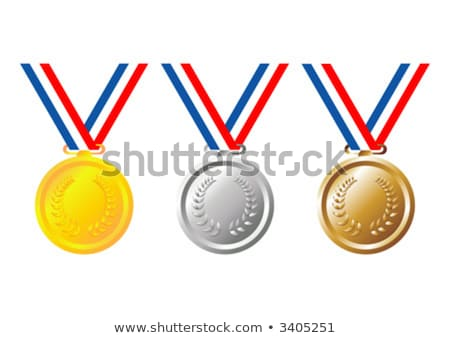 Bronzo medaglia tricolore nastro tag illustrazione Foto d'archivio © liliwhite