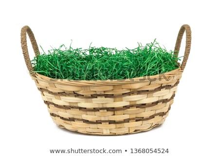húsvét · kosár · zöld · citromsárga · tojások · fehér - stock fotó © kimmit