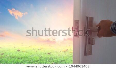 Buraco de fechadura mundo luz porta silhueta Foto stock © lemonti