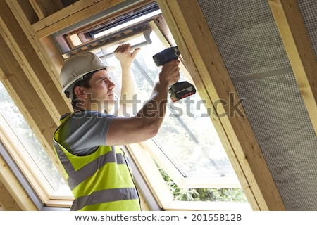Bauarbeiter · Bohrer · Fenster · Haus · Mann - stock foto © highwaystarz