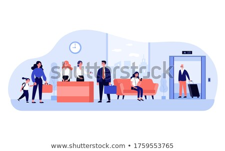 business woman walking suitcase office building hotel stock photo © hasloo