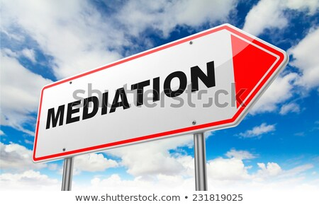 mediation on red road sign stock photo © tashatuvango