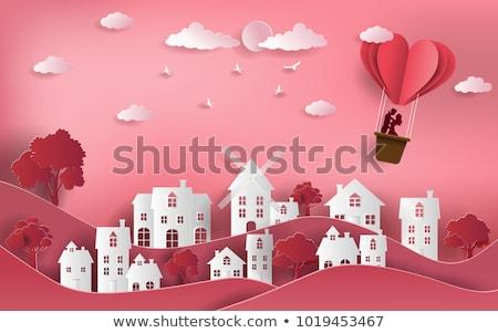 Pareja amor vuelo globos vector estilizado Foto stock © vectorikart