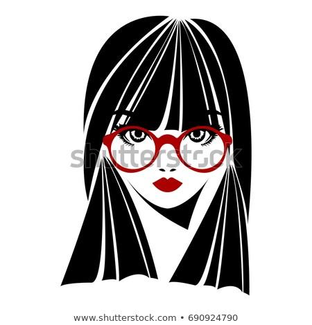 Meisje bril lang vector lang haar groot Stockfoto © tanya_ivanchuk