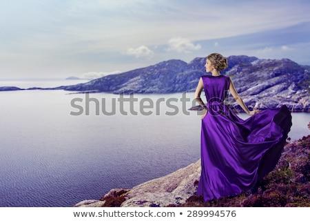 Vrouw paars zijde jurk lang Stockfoto © restyler