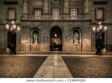 Barcelona · városkép · éjszaka · város · tenger · épületek - stock fotó © elxeneize