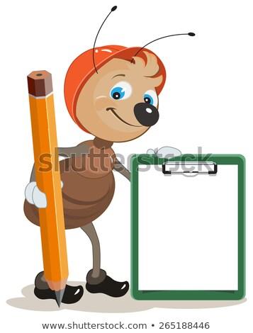 Ant Builder Zwischenablage groß Bleistift Illustration Stock foto © orensila