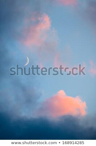 Pink clouds and moon heaven closeup Stock photo © Juhku