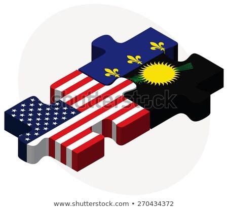 Stock fotó: USA · zászlók · puzzle · vektor · kép · izolált