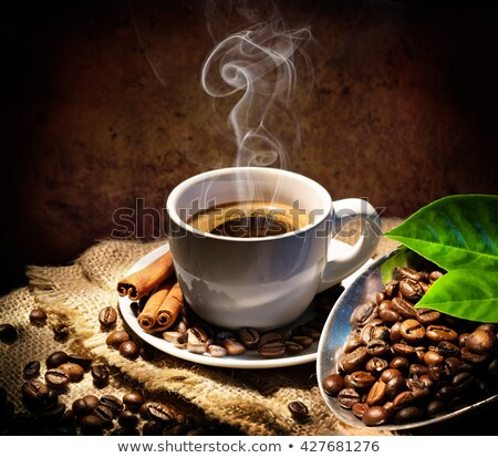 Stock photo: coffee cup coffee beans and jute