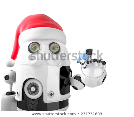 robot santa claus holding a pen isolated contains clipping path stock photo © kirill_m