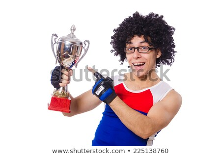 funny man after winning gold cup isolated on white stock photo © elnur