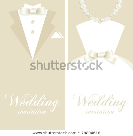 Invitation de mariage image illustration fleurs blanches soft accent Photo stock © Irisangel