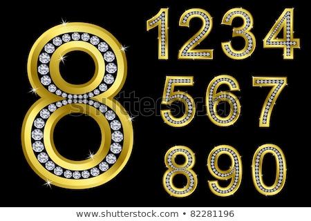 Drágakövek szám fényes gyémánt betűtípus sötét Stock fotó © logoff