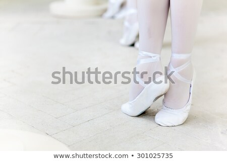 Three little ballerinas dancing. legs in ballet flats close-up Stock photo © master1305