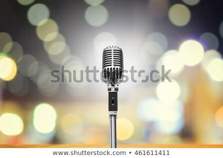 vintage · Spotlight · błyszczący · mikrofon · tle · przestrzeni - zdjęcia stock © alphaspirit