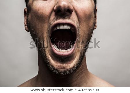 retrato · furioso · moço · isolado · preto - foto stock © master1305