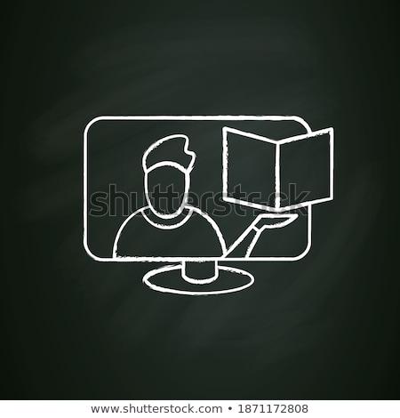 Monitor online tutorial ikon rajzolt kréta Stock fotó © RAStudio