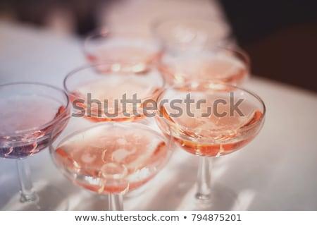 rosa · champán · dos · gafas · flores · vino - foto stock © neirfy