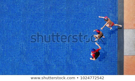 two children jump in water top view stock photo © paha_l