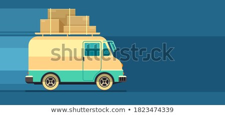 Flyer design for freight delivery transport with minibus Stock photo © LoopAll