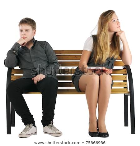 Brigar menino menina sentar-se banco madeira Foto stock © Paha_L
